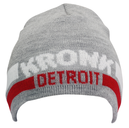 KRONK Detroit Two Stripe Beanie Hat Grey