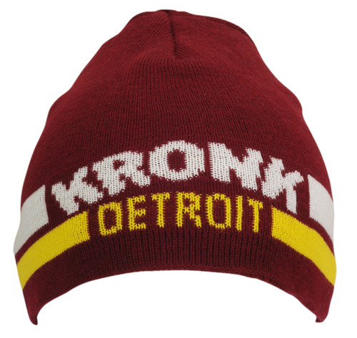 KRONK Detroit Two Stripe Beanie Hat Maroon