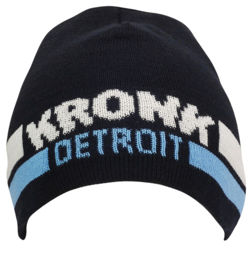 KRONK Detroit Two Stripe Beanie Hat Navy