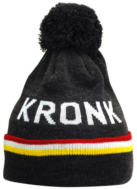 KRONK Detroit 3 stripe Bobble Hat Charcoal