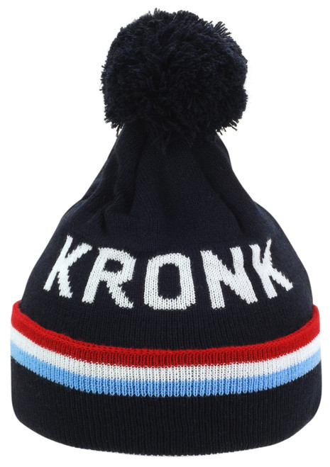 KRONK Detroit 3 stripe Bobble Hat Navy