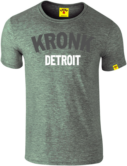 KRONK Detroit 2 colour Slimfit T Shirt Heather Green with charcoal & white