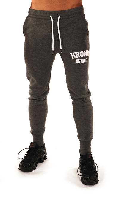 Kronk Detroit Joggers Regular Fit Charcoal with White Applique logo