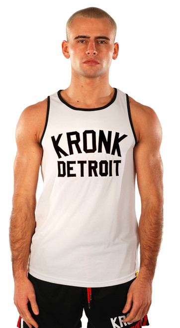 KRONK Iconic Detroit Applique Training Gym Vest White & Black