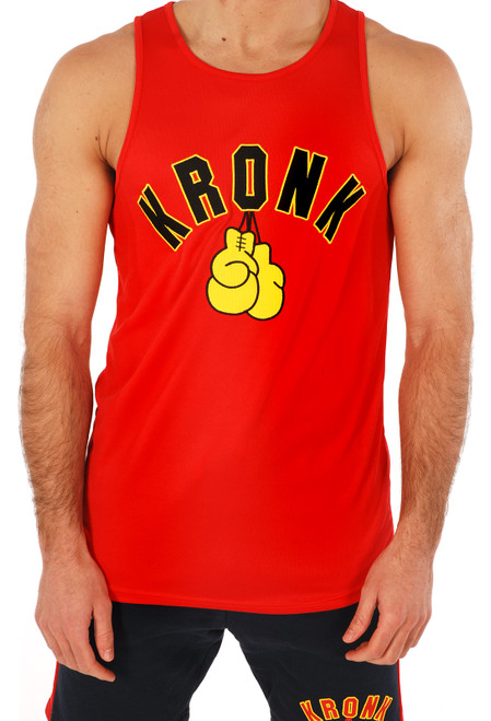 KRONK Gloves Applique Training Gym Vest Red