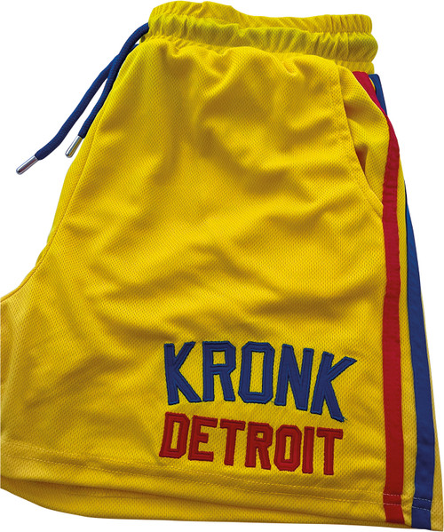 KRONK Iconic Detroit Applique Lined Shorts Yellow