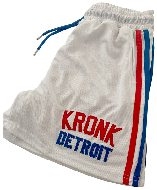 KRONK Iconic Detroit Applique Lined Shorts White & Red/Blue