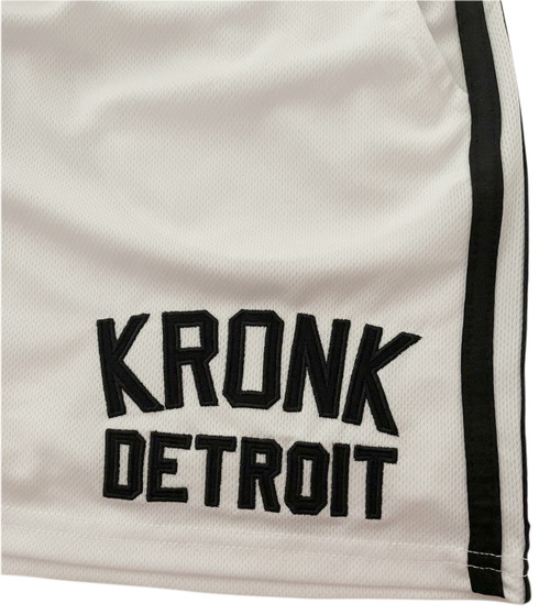 KRONK Iconic Detroit Applique Lined Shorts White and Black