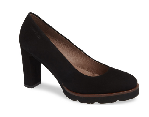 wonders pump block heel suede black