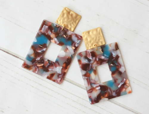 Square Acrylic Earring - Blue Tort