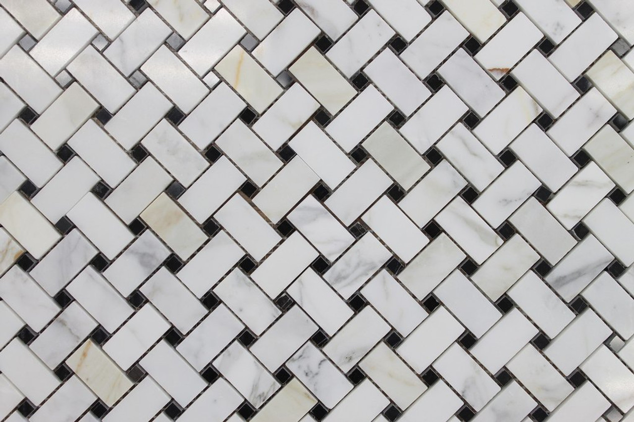Marble Basketweave Mosaic Tiles
