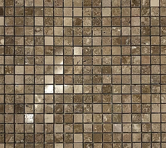 "Travertine Noce Polished 5/8""x5/8"" Mosaic Tiles"