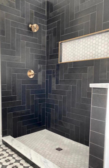 Brazillian Black 4x12 Slate Tiles on Shower Wall