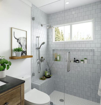 "Mallorca Matte Sky 4""x4"" Ceramic Wall Tile on Shower Wall"