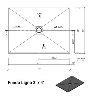 "Wedi Fundo Ligno Curbless Shower Pan (Base) with Center Drain - 36"" x 48"" x 3/4"""