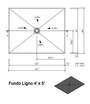 "Wedi Fundo Ligno Curbless Shower Pan (Base) with Center Drain - 48"" x 60"" x 3/4"""