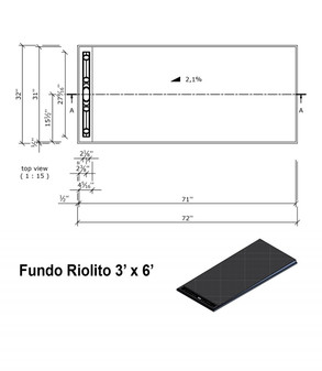 "Wedi Fundo Riolito Neo Shower Base & Drain Assembly - 32"" x 72"" x (2-3/4"" - 1-3/8"") (single slope) (075100015)"