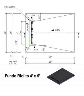 "Wedi Fundo Riolito Neo Shower Base & Drain Assembly - 48"" x 60"" x 2-1/2"" (four way slope) (075100012)"