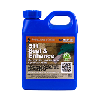 ABOUT 511 SEAL & ENHANCE 511 Seal & Enhance Is a unique, solvent-base formula designed to eliminate the need to use an impregnator before using a color enhancer for maximum stain protection and superior color enhancement. 511 Seal & Enhance is safe for use on granite, marble, limestone, natural stone, slate, ceramic tile, quarry tile and grout surfaces. 511 Seal & Enhance will enhance the color and rejuvenate the appearance of tumbled, honed, acid-washed, sandblasted, flamed, textured, even polished stone and tile surfaces. In addition, 511 Seal & Enhance revitalizes old and worn stone and tile installations. It can be used successfully in both interior and exterior environments and is freeze/thaw resistant.    READY TO USE SOLVENT BASE IMPREGNATOR/COLOR ENHANCE FOR: • Granite• Limestone• Marble• Ceramic Tile• Polished Stone• Natural Stone• Quarry Tile• Slate• Grout• not for Concrete/Masonry   SPECIAL FEATURES: • Superior Stain Protection• Interior/Exterior• One Step• Oil Resistant• Water Repelent• Will not Yellow• Enhances Color• Grout Release• Easy-to-Use• Lasts 3 - 5 Years• Good for Floors   COVERAGE: Approximately 250 - 4,000 square feet per gallon.   AVAILABLE SIZES 8 oz. Pint Quart Gallon