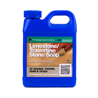 ABOUT LIMESTONE & TRAVERTINE SOAP Limestone & Travertine Soap is a specially formulated no rinse stone soap designed for easy ongoing maintenance of honed, tumbled, textured limestone, marble, travertine, terrazzo and other stone containing calcium. Limestone & Travertine Soap produces a protective film that protects the surface of the stone. Limestone & Travertine Stone Soap only reacts with the calcium in the stone so there is no risk of buildup like a traditional floor coating. Non-textured surfaces can be buffed with a floor machine and white nylon pad for added patina or shine.   MAINTENANCE CLEANER FOR: • Honed Terrazzo• Honed & Textured Marble• Honed & Textured Limestone   SPECIAL FEATURES: • Biodegradable• Nonflammable• Non-Toxic• No Rinse• Easy-to-Use• Low VOC   COVERAGE: 1,000 - 7,000 square feet per gallon with recommended dilution ratios.   AVAILABLE SIZES Quart Gallon