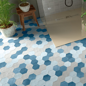 Switch 4×4½ Hexagon Tile – Dark Blue Matte, Gray Matte, Light Blue Matte Porcelain Tiles Mixed