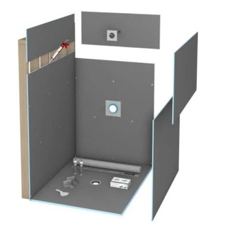 Wedi 36 in. x 60 in. Shower Kit Ligno Curbless Shower Pan