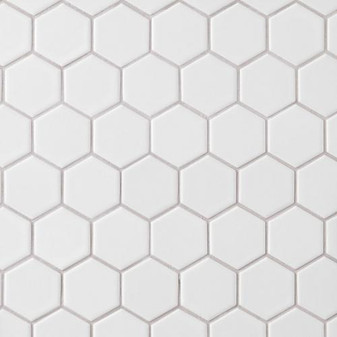"Alameda White Matte 2"" Porcelain Hexagon Mosaic Tile on 12""x12"" Mesh"