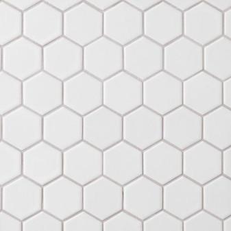"Alameda White Matte 2"" Porcelain Hexagon Mosaic Tile on 12""x12"" Mesh"