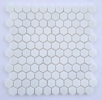 """Thassos Polished 1"""" Hexagon Mosaic Tile on 12""""x12"""" Mesh"""