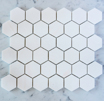 "Thassos 2"" Honed  Hexagon Mosaic Tile on 12""x12"" Mesh"