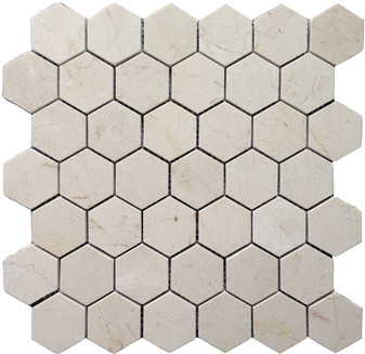 "Crema Marfil Honed 2"" Hexagon Mosaic on 12""x12"" Mesh"