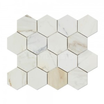 "Calacatta Gold 3"" Honed Hexagons"
