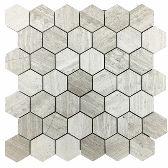 "Athen's Gray Honed 2"" Hexagon Mosaics"