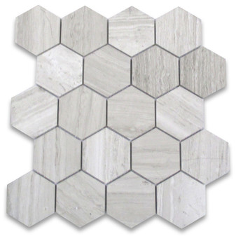 "Athen's Gray Honed 3 "" Hexagon Mosaics"