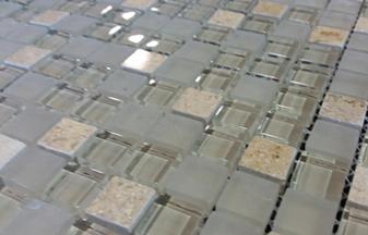 Manx Glass 5/8's x 5/8's mosaic on 12x12 Mesh $5.99 Sq. Ft.