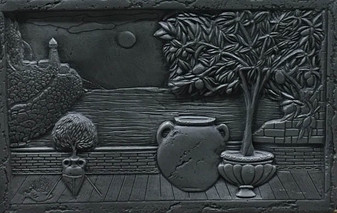Pewter Medallion 16x24  Backsplash Scene $125 EA