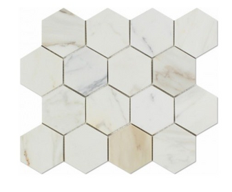 "Calacatta Gold 3"" Honed Hexagon Mosaic"