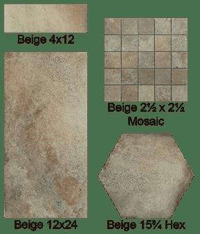 Castello Beige 12x24, 3x12 Bullnose, 4x12, 16x14 Hexagon Tiles, 2x2 Matching Mosaics
