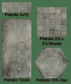 Castello Petrolio 12x24, 3x12 Bullnose, 4x12, 16x14 Hexagon Tiles, 2x2 Matching Mosaics