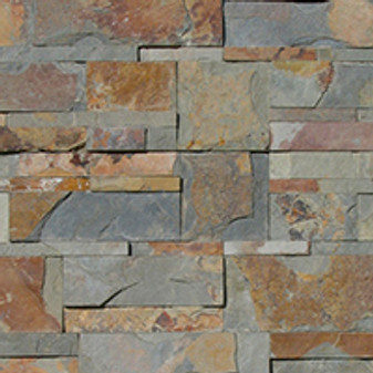 "Keystone Rust Multi Ledgerstone Panels and Caps, Outside Corners Available,6""x8"" Trim Available"