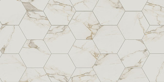 "Di Cava Calacatta 2x2 Square Mosaics, 4x12 Field, 3x12 Bullnose, 16""x14"" Hexagon Tiles, 4"" Hexagon Mosaics"