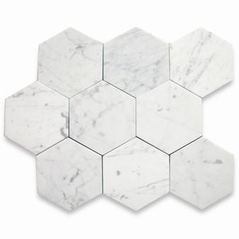 "Carrara Honed 6"" Honed Hexagon Tiles"