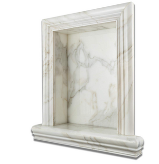 "Italian Calacatta Gold Marble Hand-Made POLISHED Shampoo Niche / Shelf - LARGE FREE UPS GROUND INSURED SHIPPING applies to all orders on this item Surface Finish: POLISHED (Glossy, Shiny) External Dimensions (per piece): 17 3/4"" (Width) X 20 3/4"" (Height) X 5"" (Thickness / Depth) Back Opening (per piece): 12"" (Width) X 16"" (Height) X 3 1/2"" (Depth)"