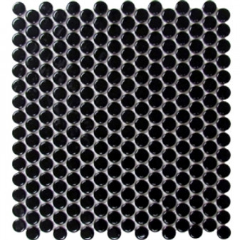 Alameda Black Matte Pennyround Mosaic 12x12
