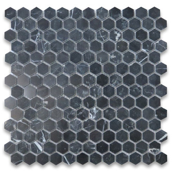 Nero Marquina Black Marble 1 inch Hexagon Mosaic Tile Polished