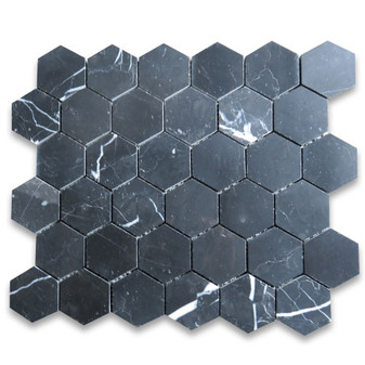 Nero Marquina Black Marble 2 inch Hexagon Mosaic Tile Polished