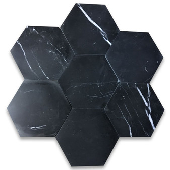 Nero Marquina Black Marble 6 inch Hexagon Tile Polished