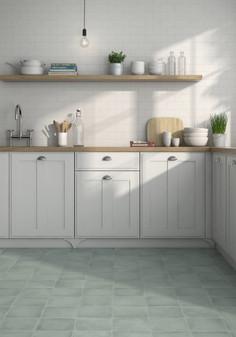 Manzanita Solids Matte Aqua  8x8 Porcelain Tile Room Scene