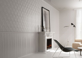Elite White Decor 12x36 with 2x12 Elite White Decor Listello, & Elite White Lines Decorative 12x36 Wall Tile