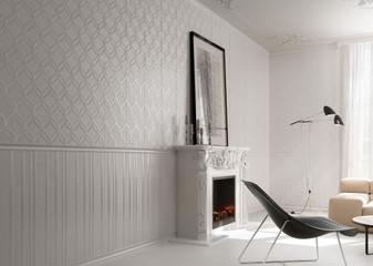 Elite White Decor 12x36 with 2x12 Elite White Decor Listello, & Elite White Lines Decorative 12x36 Wall Tile